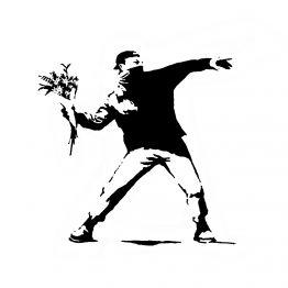 Banksy sweater flowers