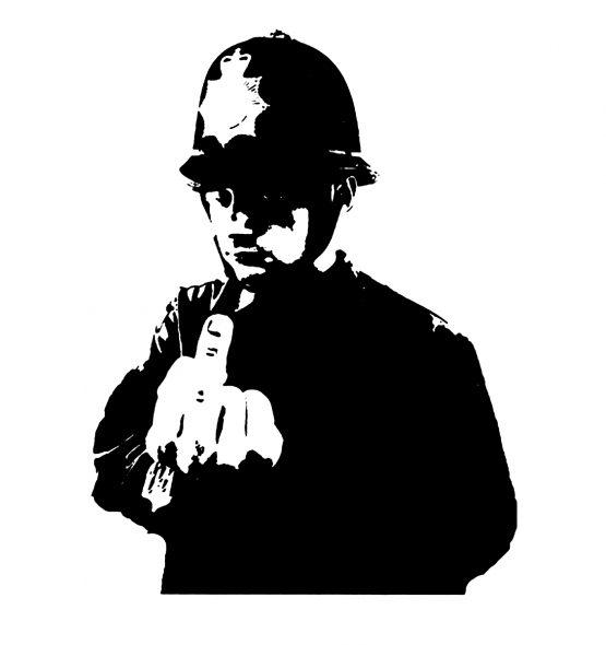 Banksy trui police vinger opdruk