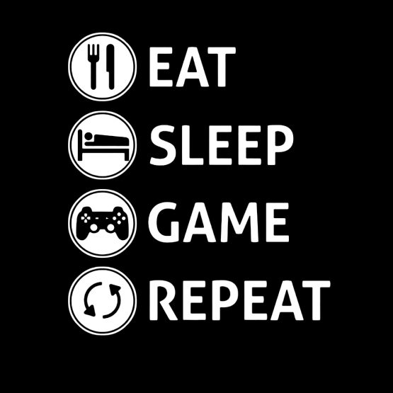Shirt Eat Sleep Game Repeat opdruk