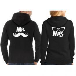 Mr Mrs hoodie snor bril