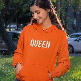 Koningsdag Hoodie Queen Tekst
