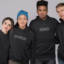 King Queen Hoodies Outline