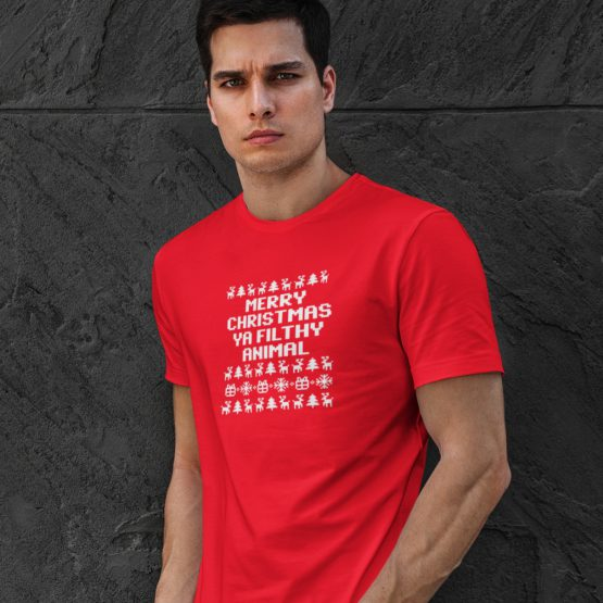 Foute Kerst T-shirt Rood Ya Filthy Animal