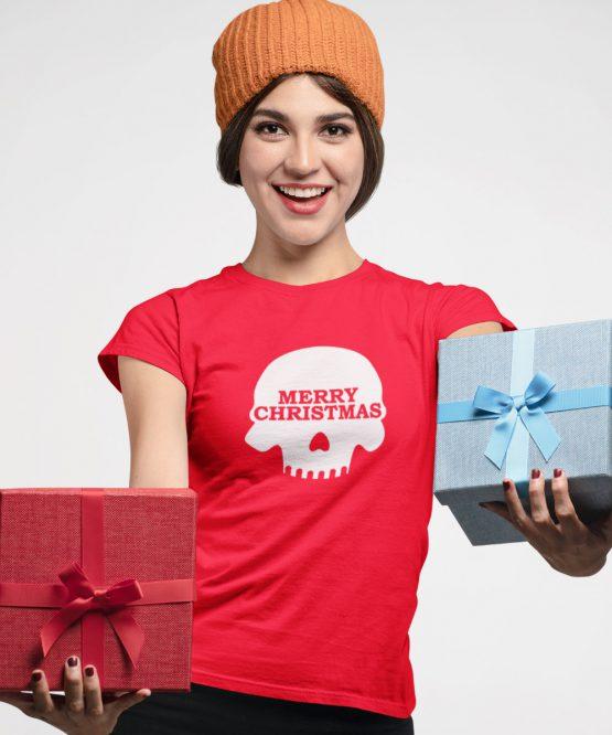 Kerst T-Shirt Merry Skull