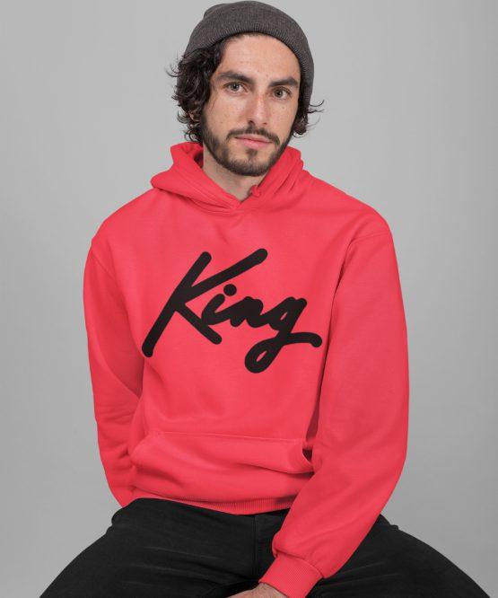 King Hoodie Premium Red Black