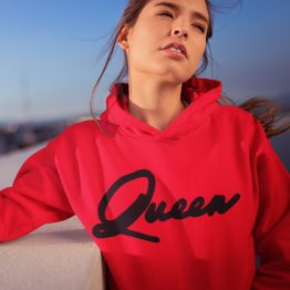 Queen Hoodie Premium Red Black