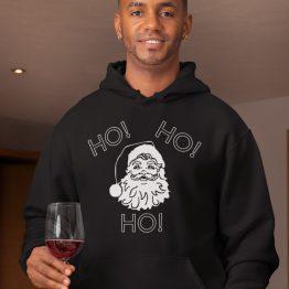 Zwarte Kerst Hoodie Ho Ho Ho