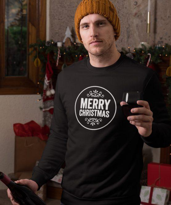 Zwarte Kersttrui Merry Round