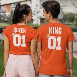 Koningsdag T-Shirt King 01 Queen 01