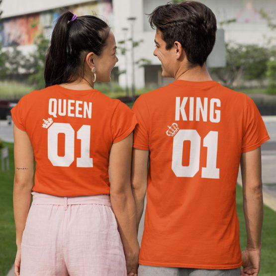 Koningsdag T-Shirt King 01 Queen 01