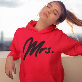 Mr Mrs Hoodie Premium Red Black 2
