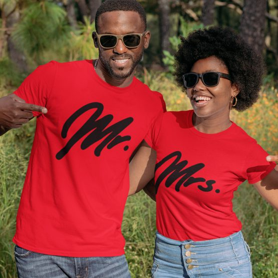 Mr Mrs T-Shirt Premium Red Black