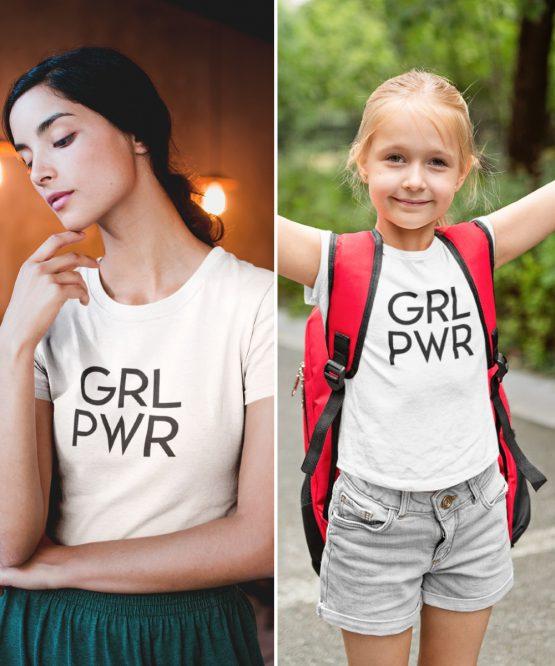 Moeder Dochter T-Shirt GRL PWR Wit