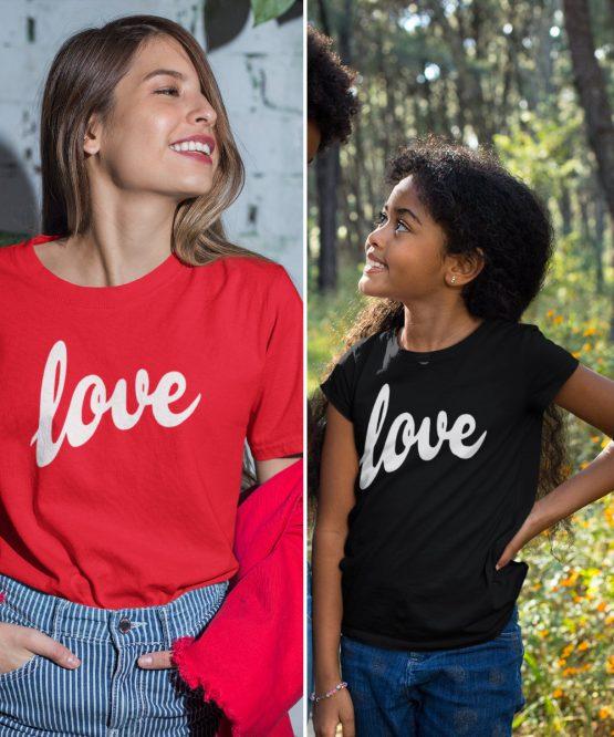 Moeder Dochter T-Shirts Love Rood