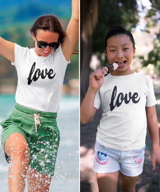 Moeder Dochter T-Shirts Love Wit