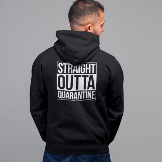 Corona Hoodie Straight Outta Quarantine Back