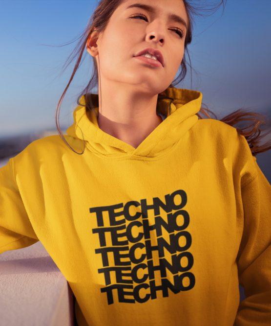 Festival Hoodie Techno x 5 Geel