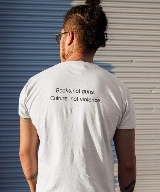 Festival T Shirt Books Not Guns wit