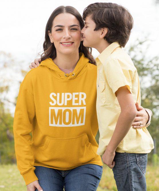 Moederdag Hoodie Super Mom Geel