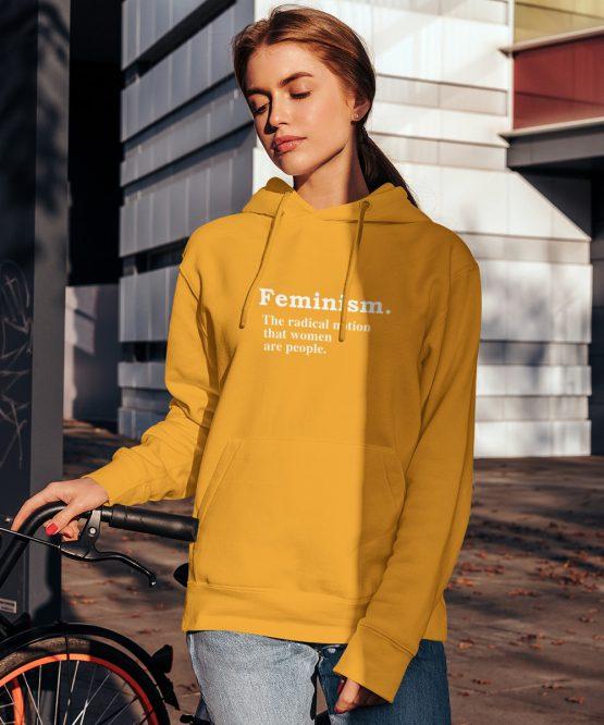Feminisme Hoodie Definition Geel