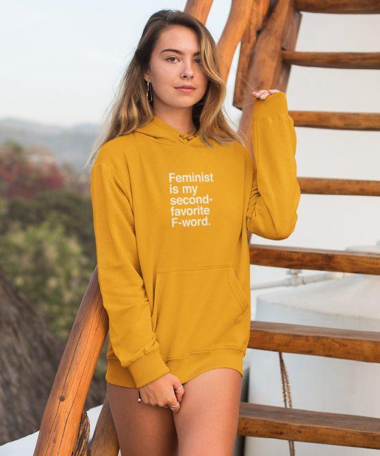 Feminisme Hoodie F-word Geel