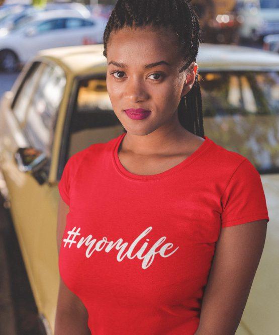 Moederdag T-Shirt Momlife Rood
