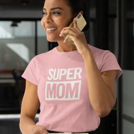 Moederdag T-Shirt Super Mom Roze