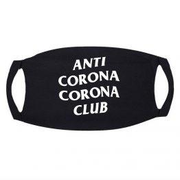 Zwart Mondkapje Anti Corona Club