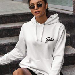 Bitch Hoodie Premium White Chest