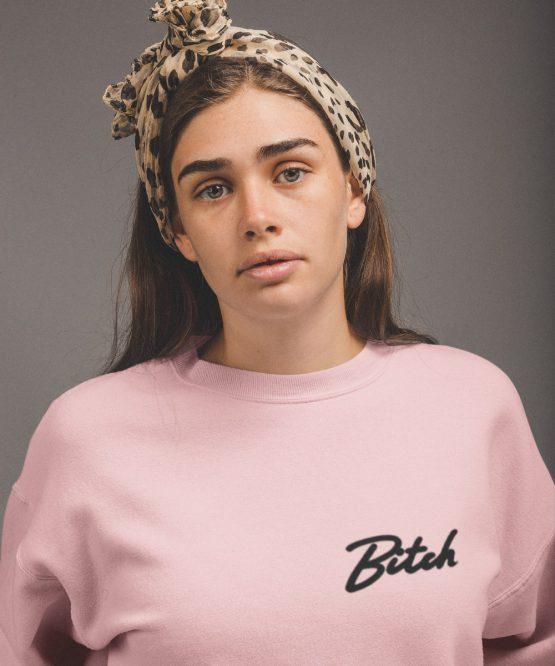 Bitch Sweater Premium Pink Black Chest