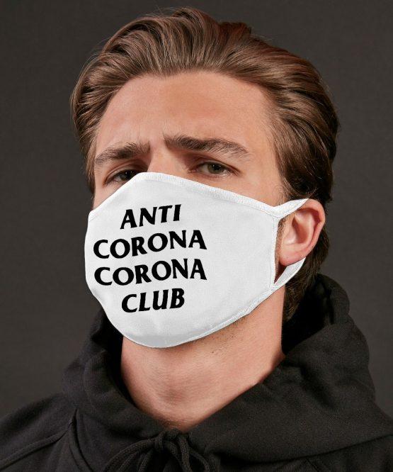 Wit mondkapje Anti Corona Club 2