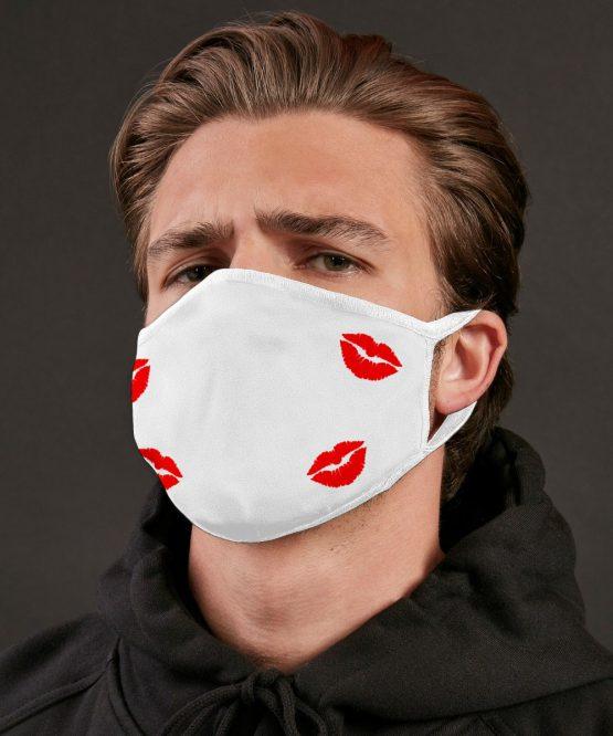 Wit mondkapje Kiss Kiss