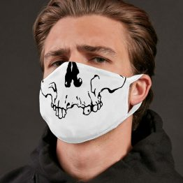 Wit mondkapje Skull sfeerfoto