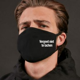 Zwart mondkapje Vergeet Niet Te Lachen productfoto