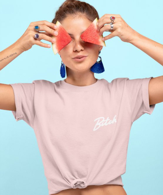 Bitch T-Shirt Premium Pink Chest