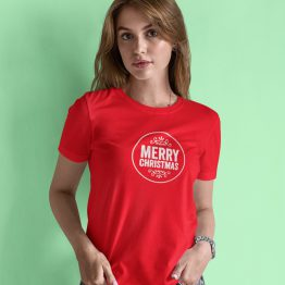 Kerst T-Shirt Merry Christmas Round