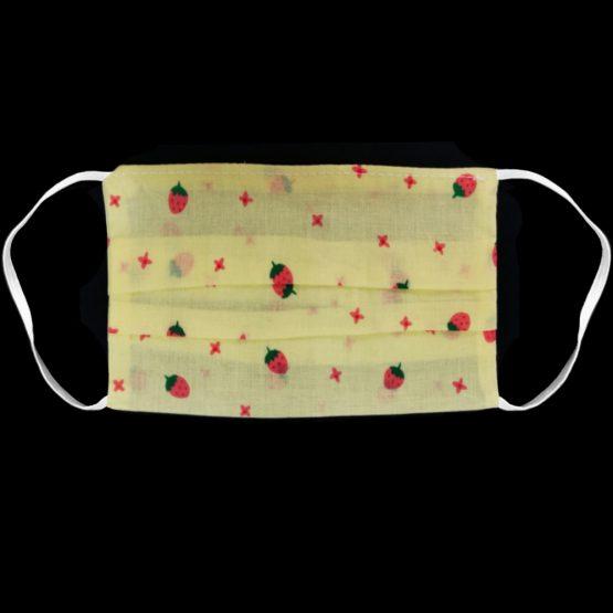 Katoenen Mondkapje Yellow Strawberry