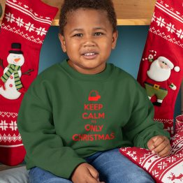 Groene Kersttrui Kind Keep Calm It's Only Christmas