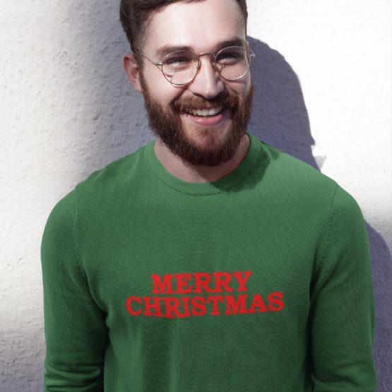 Groene Kersttrui Premium Merry Christmas