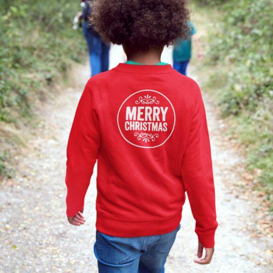 Kersttrui Kind Merry Christmas Back