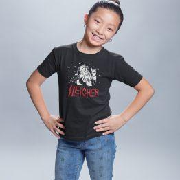 Zwart Kerst T-Shirt Kind Premium Sleigher 2