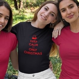 Zwart Kerst T-Shirt Premium Keep Calm It's Only Christmas 2