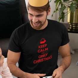 Zwart Kerst T-Shirt Premium Keep Calm It's Only Christmas