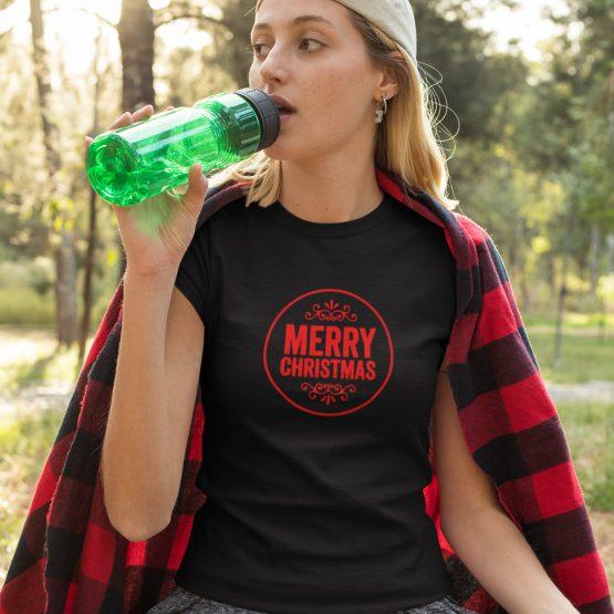 Zwart Kerst T-Shirt Premium Merry Christmas Round