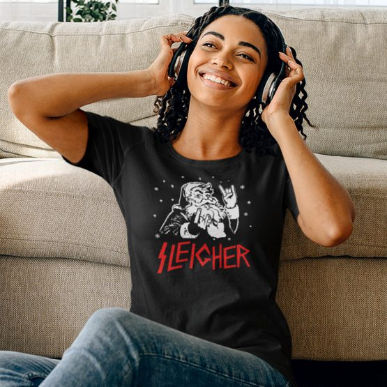 Zwart Kerst T-Shirt Premium Sleigher 2