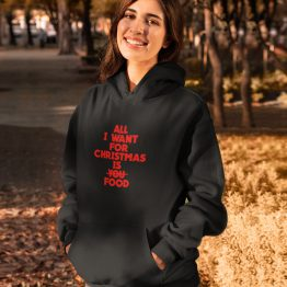 Zwarte Kerst Hoodie All I Want For Christmas Is Food