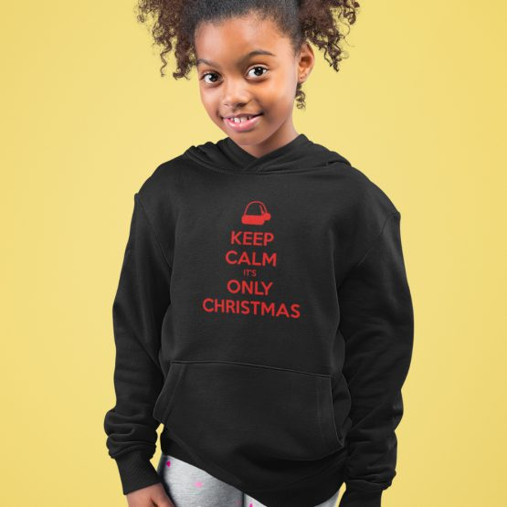 Zwarte Kerst Hoodie Kind Premium Keep Calm It's Only Christmas
