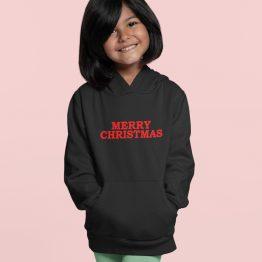 Zwarte Kerst Hoodie Kind Premium Merry Christmas