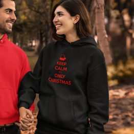 Zwarte Kerst Hoodie Premium Keep Calm It's Only Christmas