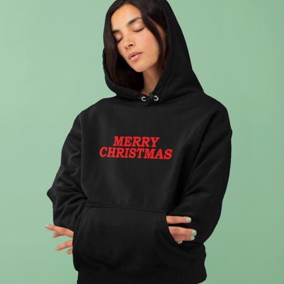 Zwarte Kerst Hoodie Premium Merry Christmas